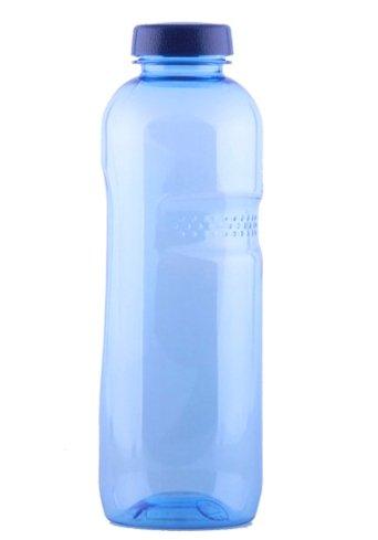 Trinkwasserflasche aus Tritan 1 Liter, mit Blüte des Lebens - Symbol Aufdruck auf dem Trinkdeckel, Flasche gibt keine Schadstoffe ab (FDA Zulassung), und ist hervorragend geeignet um gefiltertes Wasser aufzubewahren; große Öffnung (4cm), spülmaschinengeeig