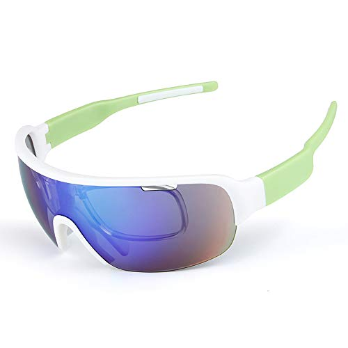 HYHMJ Bicycle Goggles, Motorcycle Goggles Half Frame 5 Pieces Sports Anti-Wind Sand Polarizer Multifunctional Riding Glasses Convertible Lenses,C