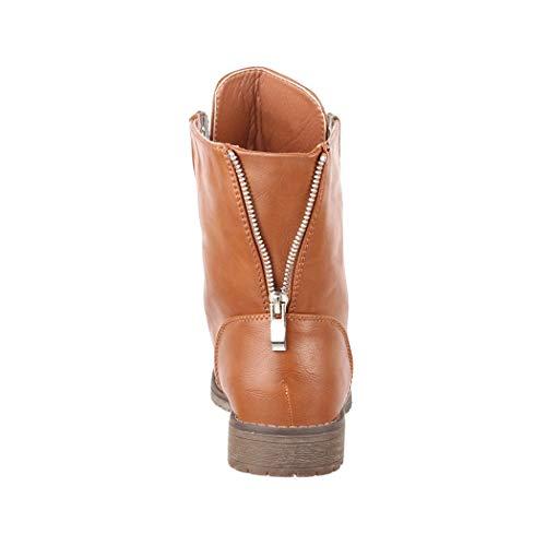 Biker Bottines Worker Talon nbsp;8511 41 36 rivets Camel À Bloc Femme Elara Aspect Lacets Bottes Pour Cuir Boots Taille IOEEPq
