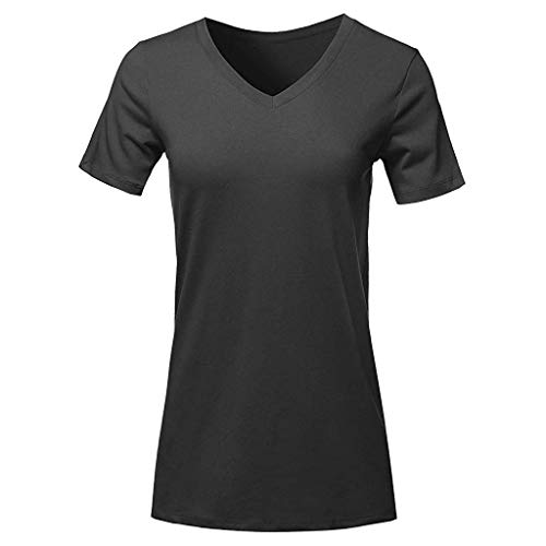 Wintialy 2019 Fashion Women Short Sleeve V-Neck T-Shirt Casual Tops Loose Top Blouse Black ()