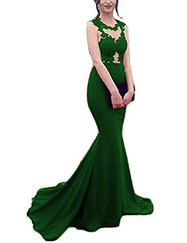 (TTYbridal Mermaid Prom Dress 2019 Lace Evening Celebrity Dresses Formal Gown P34 Green 2)