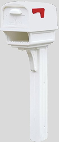 Solar Group GC1W0000 Gentry White All in One Curbside Mailbox & Post w/ Rear Doo by Solar Group