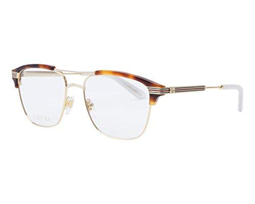 Gucci GG 0241O 001 Gold Light Havana Plastic Rectangle Eyeglasses 54mm