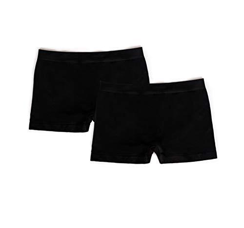 EVARI Women's Seamless Second Skin Boyshort Panties Stretch Underwear Pack of 5 OR Pack of 2 (Black, Large) (Womens Underwear Printed Boyshort)