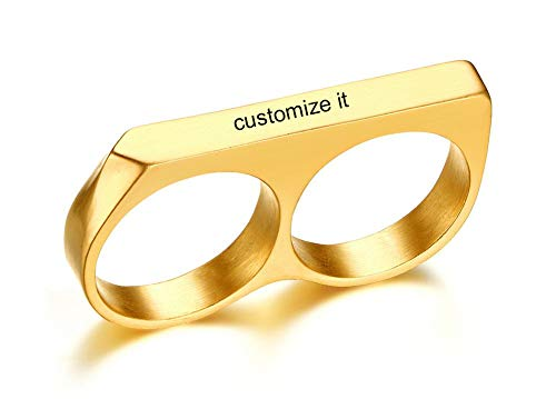 Ring Two Finger Custom (MPRAINBOW Custom Personalized Two Fingers Fashion Gold Band Ring for Women Girl)