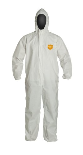 DuPont ProShield 60 NG127S Disposable Protective Coverall with Hood and Storm Flap, Elastic Cuff, White, Medium (Pack of 25)