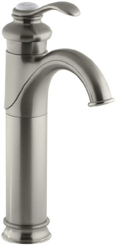 Brushed Nickel Plug Button - KOHLER K-12183-BN Fairfax Tall, Single Control Lavatory Faucet, Vibrant Brushed Nickel