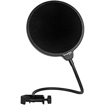 "Dragonpad USA 6"" Microphone Studio Pop Filter with Clamp - Black"