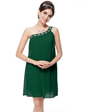 Ever Pretty Womens One Shoulder Grecian Cocktail Dress 16 US Green