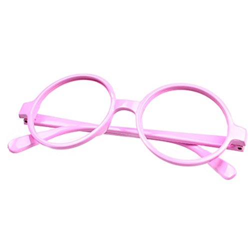 FancyG Retro Geek Nerd Style Round Shape Glass Frame NO LENSES - Pink]()