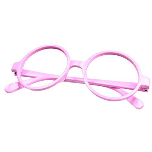FancyG Retro Geek Nerd Style Round Shape Glass Frame NO LENSES - Pink -