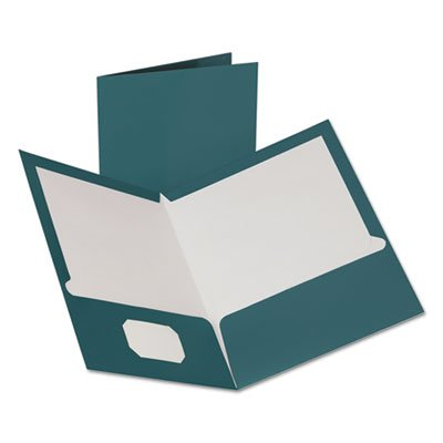 Two-Pocket Laminated Folder, 100-Sheet Capacity, Metallic Teal by Oxford