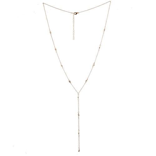 Lariatneck Y Lariat Necklaces for Women Gold Long Drop CZ Station Y Necklace Chain ()
