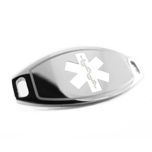 Medical Id Alert Plate (MyIDDr - Steel, Medical Alert ID Plate, Can be Attached to an ID Bracelet, White Symbol)