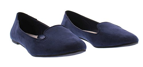 Gold Slip Smoking Suede With Loafer On Comfort Women's Faux Shoes Jasper Arch Toe Support Flat Navy r1qrwTf
