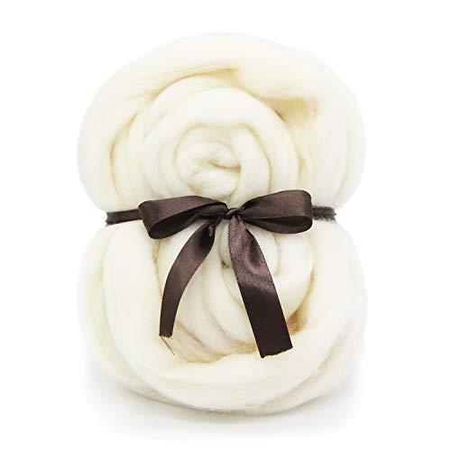 White Merino Wool Roving Top - 21um Needle Felting DIY Craft Materials (White-3.5OZ)