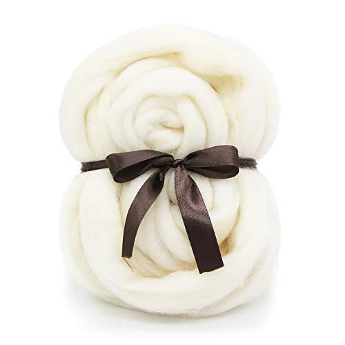 White Merino Wool Roving Top - 21um Needle Felting DIY Craft Materials (White-3.5OZ) ()