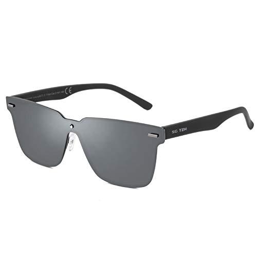 (SG TZH Rimless Sunglasses For Men/Women- Futuristic Shield Polarized Design,100% UV400 Protection,Tr90 Unbreakable Frame (Grey))
