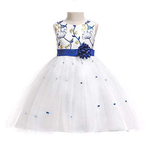 Little Girls Dresses White Wedding Dresses for Girls Kids Party Pageant Princess Elegant Special Occasion Lace Dresses 4t 5t M11A130