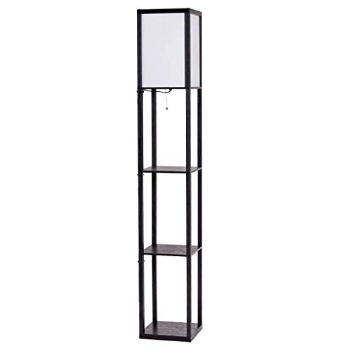 Costzon Shelf Floor Lamp, 3 Storage Shelves Lamp, 63 Inch Height, Switch  On/Off, ETL Approved