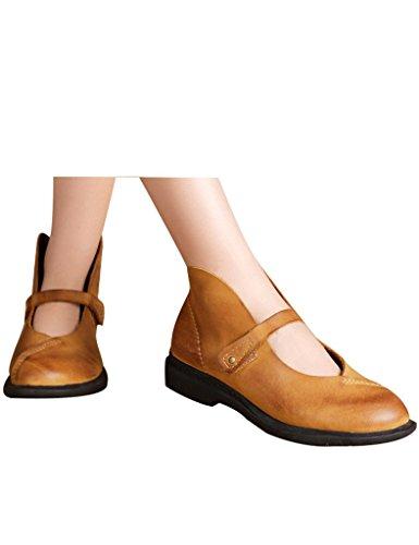 Youlee Mujeres Punta Redonda Cuero Zapatos Planos Amarillo