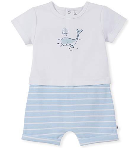 absorba Baby Boys Romper, White/Blue 12M