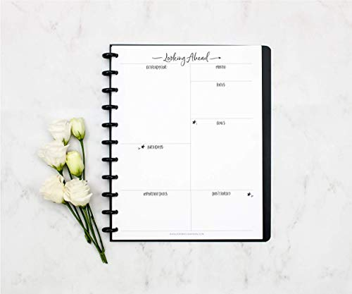 """BetterNote Looking Ahead Monthly Reflection Insert for Letter Sized Disc-Bound Planners, Fits 8.5""""x11"""" Happy Planner, Levenger Circa, TUL, Staples Arc Systems, (Notebook Not Included)"""