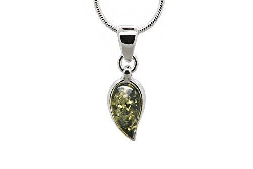 (925 Sterling Silver Leaf Pendant Necklace with Genuine Natural Baltic Green Amber. Chain included)