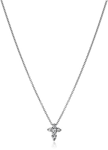 Roberto Coin Tiny Treasures 18k White Gold Diamond Baby Cross Pendant Necklace (1/10cttw, G-H Color, SI1 Clarity), 16