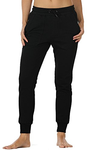 icyzone Women's Slim French Terry Jogger Sweatpants with Side Pockets (L, Black) ()