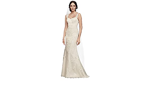 Davids Bridal Tulle and Lace Wedding Dress with Tank Straps Style WG3816 at Amazon Womens Clothing store: