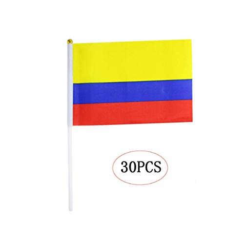 Colombia Stick Flag,Colombian Hand Held Mini Small Flags On Stick International Country World Stick Flags for Party Classroom Garden Olympics Festival Parades Parties Desk Decorations(30 Pack) -