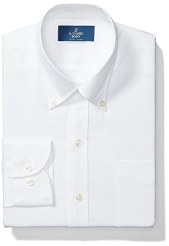 BUTTONED DOWN Men's Slim Fit Button-Collar Solid Non-Iron Dress Shirt (Pocket), White, 16
