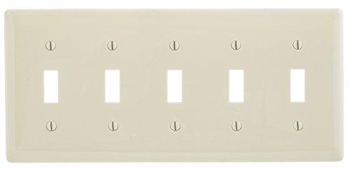 Bryant Electric NP5LA 5-Gang/5-Toggle Nylon Wall Plate, Standard Size, Light Almond ()