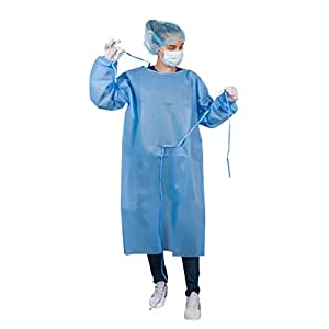 AMZ Industrial Gowns. Pack of 10 Adult Disposable Gowns 45″ long. Blue Protective Gowns with Long sleeves, Neck and Waist ties. Non-sterile gowns. Spunbonded Polypropylene.
