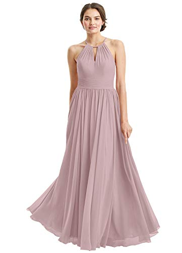 (Women's Chiffon A-Line Sleeveless Floor Length Bridesmaid Gowns Pleats Halter Prom Evening Party Dresses Size 8 Dusty)
