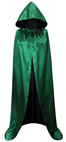 VGLOOK Unisex Christmas Halloween Witch Party Reversible Hooded Adult Vampires Cape Cloak(Green/Black) -