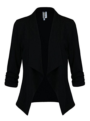 Instar Mode Women's Classic 3/4 Sleeve Open Front Blazer Jacket [S-3X] -Made in USA