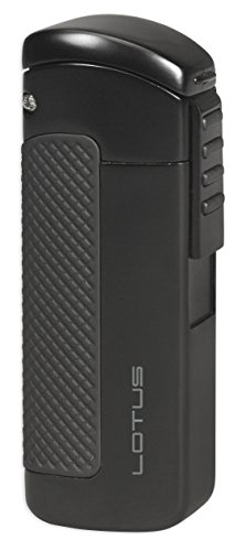 Lotus CEO Triple Torch Flame Lighter w/ Cigar Punch - Black Matte