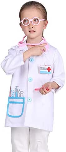 Familus Kid Doctor Costume White Kid Doctor Coat for Cosplay Role Play Pretend Play