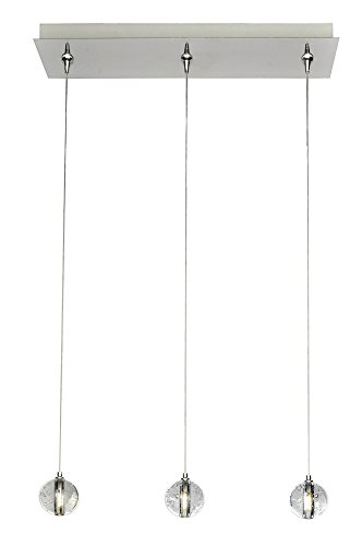 - ET2 E24504-91PC Harmony 3-Light RapidJack Pendant and Canopy Linear Pendant, Polished Chrome Finish, Bubble Glass, G4 LED Bulb, 4W Max., Dry Safety Rated, 3000K Color Temp., Low-Voltage Electronic Dimmer, Shade Material, 1575 Rated Lumens