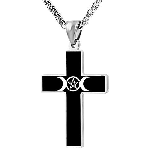 Fgfio Triple Moon Pentacle Fashion Custom Cross Necklace Cross Prayer Christ Necklace Pendant 24 Inch Crucifix Pray Ornaments Unisex