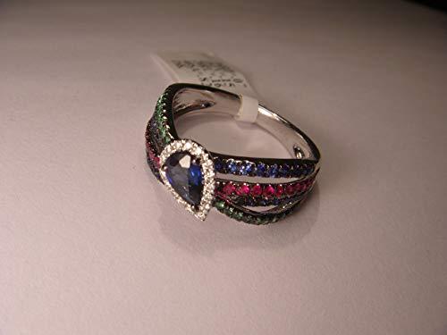(Stunning 18K White Gold Diamond Ruby Sapphire Emerald Band Ring)