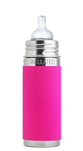Pura Kiki 9 oz / 260 ml Stainless Steel Insulated Infant Bottle with Silicone Medium-Flow Nipple & Sleeve, Pink (Plastic Free, NonToxic Certified, BPA Free) ()