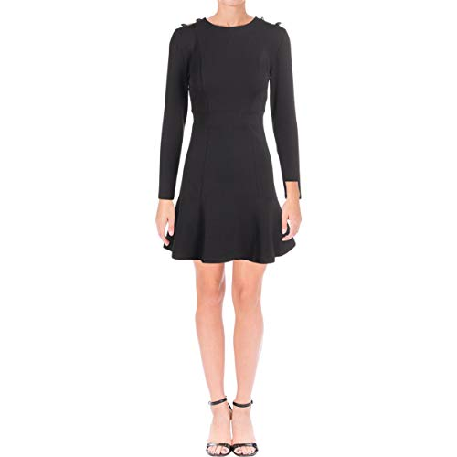 Juicy Couture Women's Knit Fit and Flare Ponte Dress with Button Shoulder Pitch Black 0