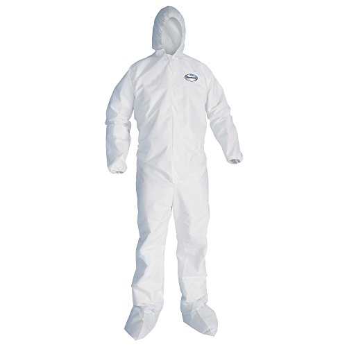 Kleenguard A10 Light Duty Coveralls (10606), Zip Front, Elastic Wrists, Hood, Boots, Breathable Material, White, Large, 25 / Case