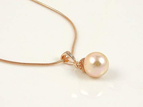 Cubic Zirconia Pendant Necklace with Soft Peach Shell Pearls ()