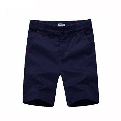 KID1234 Boys Shorts - Flat Front Shorts with Adjustable Waist,Chino Shorts for Boys 5-14 Years,6 Colors to Choose Navy - Shorts Navy 7 Old