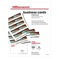Office Depot Matte Business Cards, 2in. x 3 1/2in, White, Pack Of 1,000, 23003 by Office Depot