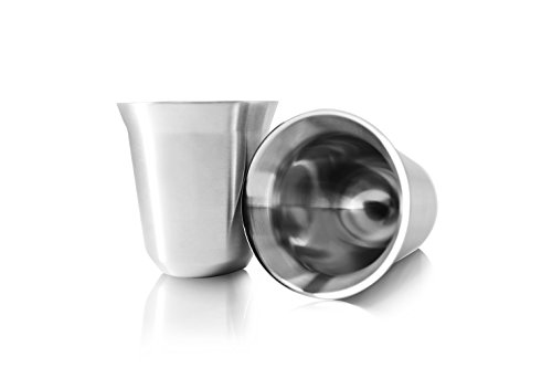 - 80mL (2.7 Ounce) Stainless Steel Espresso Cups Double Wall Vacuum Insulated - Set Of 2 Demitasse Cups By Tombert